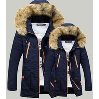 ZY2039A Mens cotton thickening heavy hair collar hooded long coat