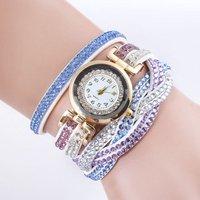 Fashion Women Dress Watch Leather Wristwatch Gold Bracelet Popular Casual Luxury Crystal Women Girl Quartz Watch
