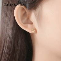 GEMandTIME Solid 14K Gold Circle Earrings Cute Korean Round Circle Yellow Gold Earring for Girls