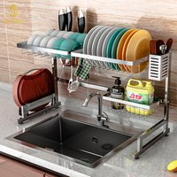 Hot Sale Stainless Steel Standing Type Kitchen Accessaries Storage Holder Rack Over the Sink Dish Plate Drainer Rack