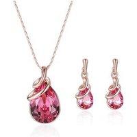 New zinc alloy bridal fancy necklace garnet jewelry set