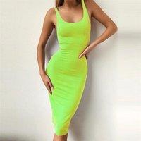 Wholesale summer prom neon orange green bodycon long maxi sleeveless skirts dress