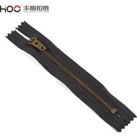 HOO hot custom zipper for jeans men gold metal zippers brass zips price advantage for clothes shoes bag jacket