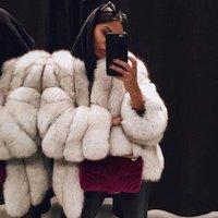 Hot sale winter warm clothes ladies woolen quilted round neck  jacket faux fur long bomber jacket mink Coat Women