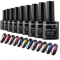 Solid color cat eye gel nails colorful stars chameleon nail polish 12 colors