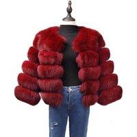 Fashion 2018 Wholesale Winter jacket Women Coats Short White Red Faux Fox Leather jackets Fur Coat Women