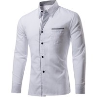 Wholesale Luxury Stylish Mens Custom Logo Long Sleeve Slim Fit Latest White Shirt Designs for Mens Dress Shirt Office Wear