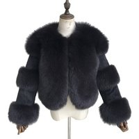 Wholesale Women Natural Genuine Fox Fur Jacket /Thick Rabbit Fur Coat Custom Ladies Winter Real Fox Fur Jacket Women