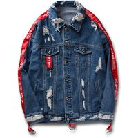 Top Fashion Blue Jeans Jacket For Men,Distressed Loose Denim Jacket With Fabric Chains