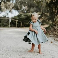 Wholesale baby girl clothes short sleeves linen customized toddler summer dress