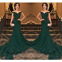 ZH0855Q Elegant Sparkly Sequins Mermaid Sweep Train Prom Party Gowns Sexy Modern Dark Green Off Shoulder Charming Evening Dress