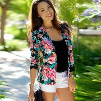 Womens Long Sleeve Open-Front Floral Print Blazer for women