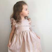 Baby Linen Dress Clothes, Handmade Frilly Sleeves Organic Clothes For Baby Girls