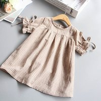 New fashion style kids clothing short sleeve linen cotton plaid ruffle girl boutique dress clothing