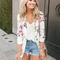 Elegant Suit Blazer Feminino Women Floral Long Sleeve Blazers Notched Collar Coat Female Outerwear Y11405