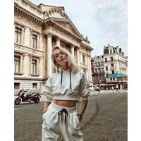 Girl Crop Top Tracksuit Fitness Pullover Sweatshirt Jogger Pant Tracksuit Cropped Hoodie Set