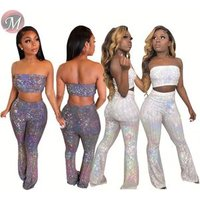 9071127 queenmoen hot sale fashion woman tube crop top and pants sexy night club wear sequin two piece