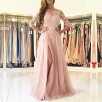 Real Sample Pictures Elegant Long Sleeves Split A Line Pink Evening Dresses in Germany