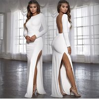 Long Sleeve Club Party Dress Elegant Split Maxi Bodycon Dress White Black Backless Autumn Winter Sexy Dresses Women