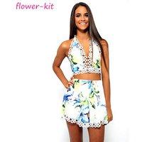 Fashion floral girl crop top set summer casual women 2 piece set clothing