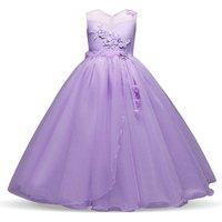 Korean style girl wedding gown fancy kid evening dresses Elegant purple long dress with flowers
