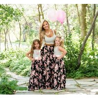 Mother and daughter loral Long maxi floral printed beach sleeveless vest dress casual matching clothes dress outfits summer