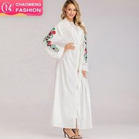 1713# New madal in Dubai 2019 long White cardigan Modest design kaftan dress open front abaya with embroidery on sale
