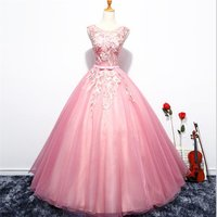 fashion evening dress o neck illusion sleeves flower embellished pink Wedding Dresses ball gown