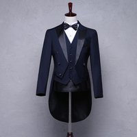 China custom made 100% wool top exquisite men wedding tuxedo swallow-tailed coat for men suit