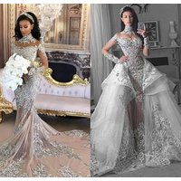 L1264  Crystal Lace Wedding Dress Bridal Gown  Long-Sleeve Beaded Mermaid Wedding Dresses