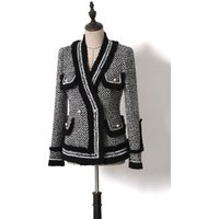 Fashion British Blazer hot sell high quality double-breasted white tweed blazer woman Trench buttons black Tweed jacket coat