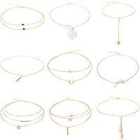 XUSHI 9 pcs chocker necklace set woman Simple layering necklace Gift bohemian gold plated jewelry XS03