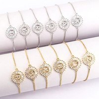 Fashion Women Jewelry Gold Chain Micro Pave Zircon Letter Bracelet Charm Initail Bracelets