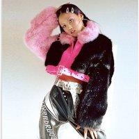 2018 european style Lady faux pink Fur leather Jacket Winter Fashion short crop winter Coat Wholesale Women Outerwear plus size