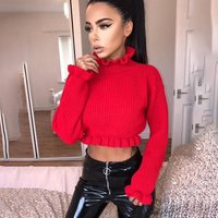 Womens Clothing Ruffles Turtleneck Sweater Autumn Winter Knitted Fashion Sexy Crop Pullover Short Tops Long Sleeve