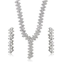 set-215 xuping luxury light weight white gold color wedding jewelry necklace set for bride, set de collares