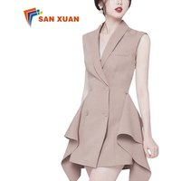 2019 summer casual a-line double-breasted irregular slim v-neck sleeveless high waist suit coat ladies wear fashion office dress