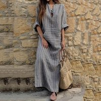 Spring and summer new large size womens cotton and linen pocket yarn-dyed loose long dress