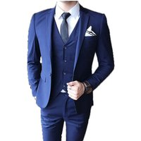Gentlemen British Slim Fit Suit  Mens Fashion  2-Piece Business Blazer Jacket Vest Trouser  Suits Set for Men
