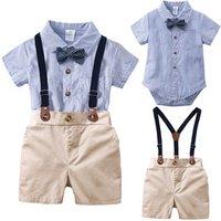 Baby Clothing Sets Newborn Baby Boy Clothes 2PCS Sets Bow Ties Shirts + Suspenders Pants