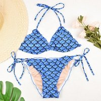 Custom blue patterned bikini with inexpensive fish-flake swimsuits beach cover up pretty little thing tie string thong bikini
