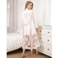 Wholesale wedding Women super soft Silk Satin Robes Bridal Bridesmaid Bride Gown Kimono Lace Robe Sleepwear