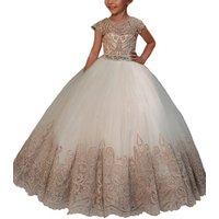 OEM fancy little girls party dresses long kids evening gown lace dress girls champagne latest flower girls dresses design