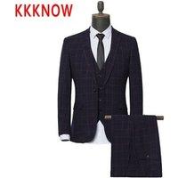 KKKNOW suit three piece set of new spring and autumn slim groom wedding dress men s suit