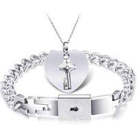 Key Necklace 316LStainless Steel Wedding Bridal Lock Bracelet Necklace Jewelry Set, OEM/ODM Accept