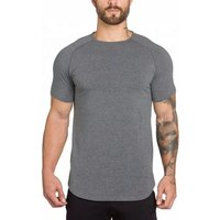 Plain blank fitness breathable cultivate ones morality short sleeves man long T-shirt