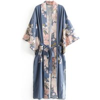 Bohemian style long sleeve floral printed women kimono cardigan outwear beach clothing