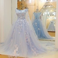 Jancember LS64420  blue 2019 new design lace real luxury gown off shoulder prom evening  dress