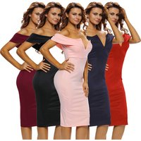 Fashion Sexy Women Black Off The Shoulder Pencil Bodycon Midi Dress