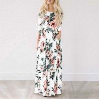 Women Fashion Sexy Summer Long Dress Sleeve Floral Print Evening Party Dress